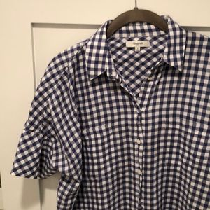 Madewell Blue Checked Button Up Small
